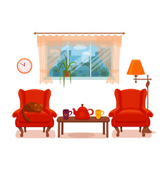 colorful cozy interior warm bright winter vector image