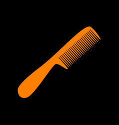 Comb simple sign orange icon on black background vector