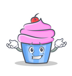 Confused cupcake character cartoon style vector