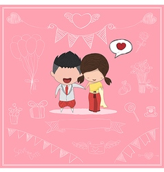 Cute cartoon wedding couple men and women card vector