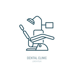 dentist chair orthodontics line icon dental care vector image vector image