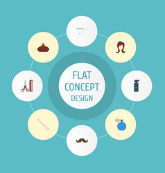 Flat icons deodorant hairspray cotton buds and vector
