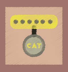 Flat shading style icon cat collar vector