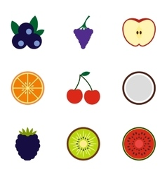 Fruit icons set flat style vector