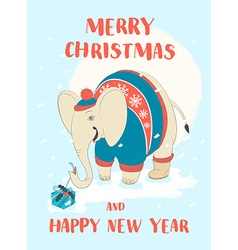 Funny Merry Christmas card with elephant wearing vector image