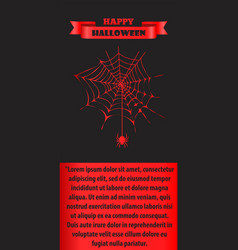 Happy halloween poster with red thin neat cobweb vector