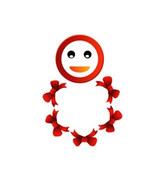 Happy smiley with red bow vector
