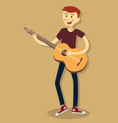 man play acoustic guitar vector image