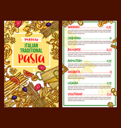 Pasta italian restaurant menu template vector
