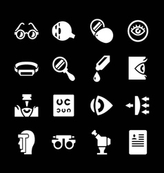 Set icons of ophthalmology and optometry vector