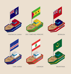 set of isometric ships with flags of atlantic vector image vector image