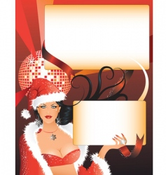 sexy Santa girl with placards vector image