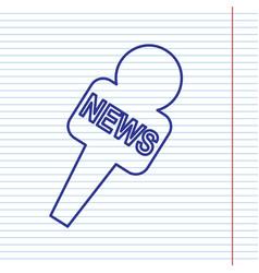 Tv news microphone sign navy vector