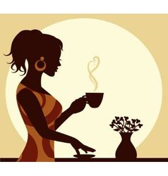 woman with a cup of steaming coffee in hand vector image