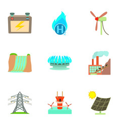 World resource icons set cartoon style vector