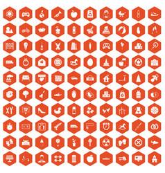 100 maternity leave icons hexagon orange vector