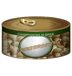 Can of champignons in brine vector
