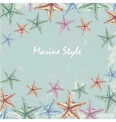 Vintage decorative frame for text with starfishes vector
