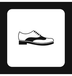 Mens shoe with lace icon simple style vector