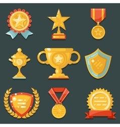 Win gold awards symbols trophy icons set flat vector