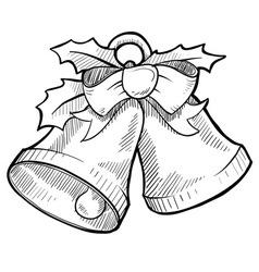 doodle christmas bells vector image