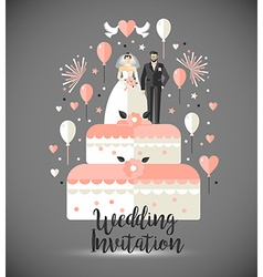Wedding invitation card two on wedding cake with vector