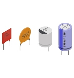 Isometric electronic components capacitors vector