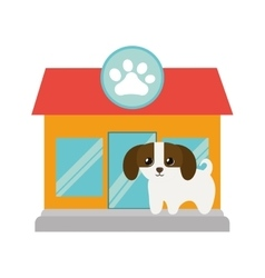 Puppy little canine adorable pet shop facade paw vector