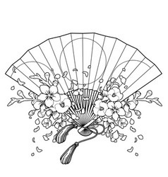 fan with floral decoration vector image