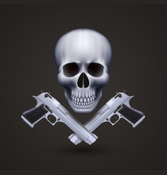 skull with pistols vector image