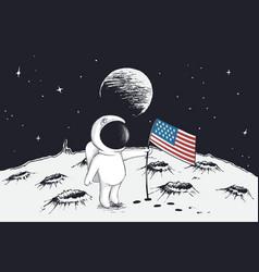 Astronaut sets a flag of usa on moon vector