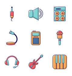 Voice recording icons set flat style vector