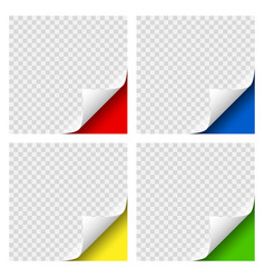 realistic curly page colored corners set with vector image