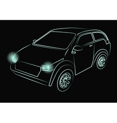 Green neon car vector