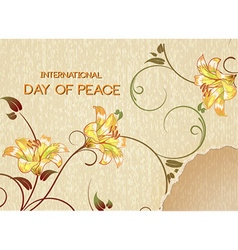 International day of peace with torn paper and vector