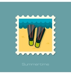 Flippers flat stamp vector