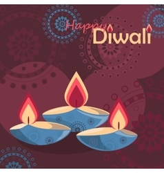 Three burning diya on diwali holiday background vector