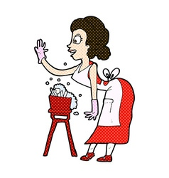 Comic cartoon housewife washing up vector
