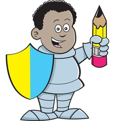 Cartoon african boy dressed as a knight vector