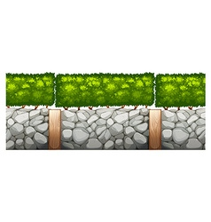 Seamless design with brick wall and bush vector