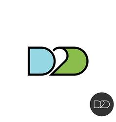 Door to door abbreviation logo Linear style with vector image