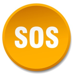 Sos orange round flat isolated push button vector