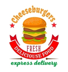 Cheeseburger round icon for fast food cafe design vector