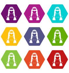american indian icon set color hexahedron vector image vector image