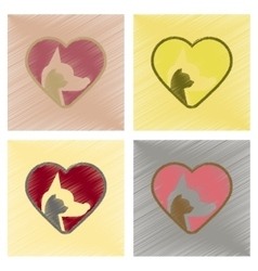 Assembly flat shading style icons cat dog heart vector