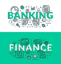 Banking and Finance Concept Colored flat in vector image