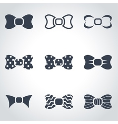 Black bow ties icon set vector