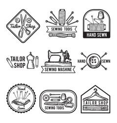 Black labels set for sewing shop fashion vector