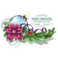 Blue Christmas ball with purple bow and fir vector image