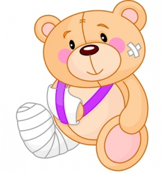 cartoon sick teddy bear vector image